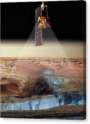 Mars Odyssey Spacecraft Detecting Ice Canvas Print