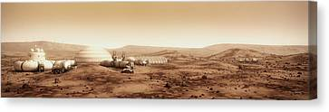 Mars Settlement Landscape With Farm Canvas Print by Bryan Versteeg