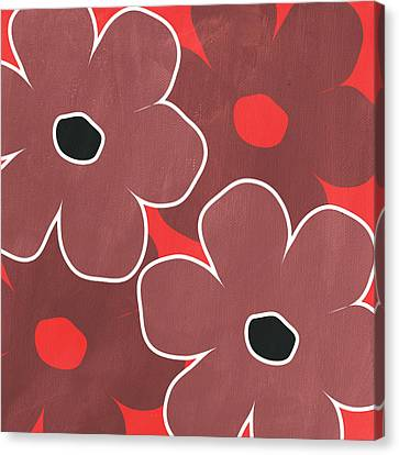 Marsala And Red Flowers- Bold Floral Art Canvas Print by Linda Woods