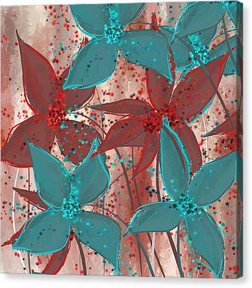 Marsala And Turquoise  Canvas Print by Lourry Legarde