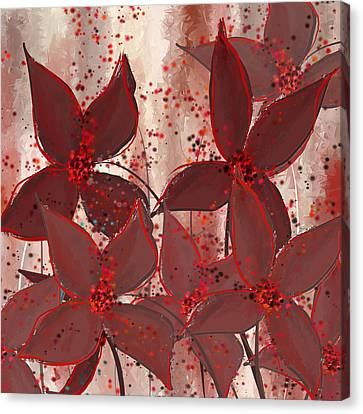 Marsala Floral Canvas Print by Lourry Legarde