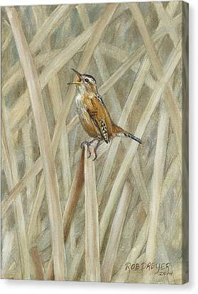 Wren Canvas Print - Marsh Melody by Dreyer Wildlife Print Collections