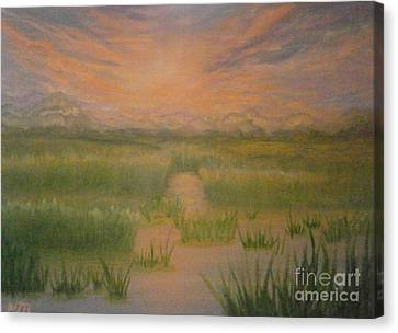 Canvas Print featuring the painting Marsh Sunset by Holly Martinson