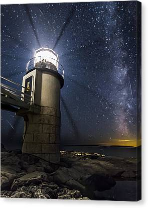 Marshall Lighthouse And The Night Sky Canvas Print