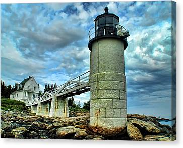 Marshall Point Light From The Rocks Canvas Print by Carolyn Fletcher