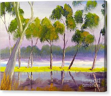 Canvas Print featuring the painting Marshlands Murray River Red River Gums by Pamela  Meredith