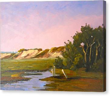Marshlands Plymouth Landing Canvas Print by Betty Ann Morris