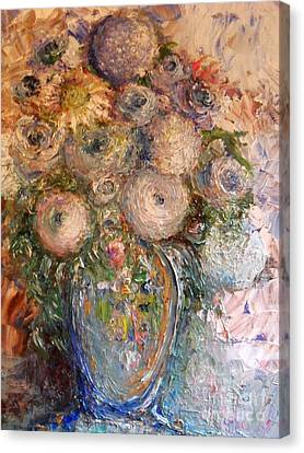 Canvas Print featuring the painting Marshmallow Flowers by Laurie L