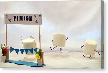 Marshmallow Marathon Canvas Print by Heather Applegate
