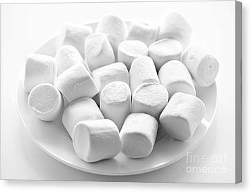 Marshmallows On Plate Canvas Print by Elena Elisseeva