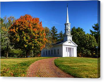 Martha Mary Chapel In Autumn Canvas Print by Donna Doherty