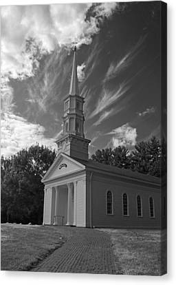 Martha Mary Chapel Canvas Print - Martha Mary Chapel In Black And White by Suzanne Gaff