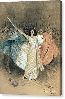 Marthe Chenal Singing La Marseillaise Canvas Print by Georges Bertin Scott
