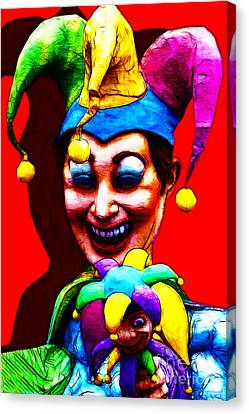Marti Gras Carnival Clown 20130129v1 Canvas Print by Wingsdomain Art and Photography
