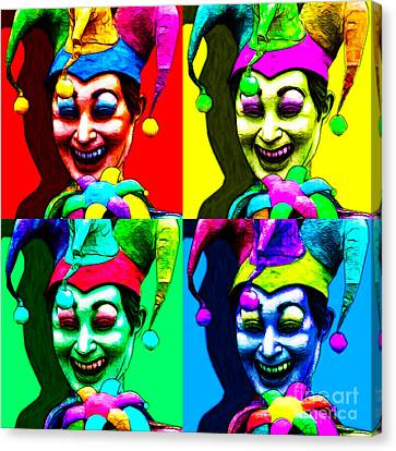 Marti Gras Carnival Jester Four 20130129 Canvas Print by Wingsdomain Art and Photography