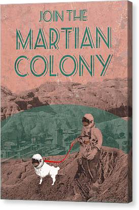 Martian Colony Mars Travel Advertisement Canvas Print