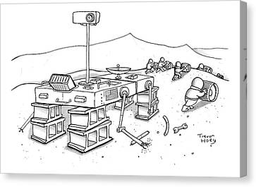 Martians Are Stealing The Tires On A Martian Canvas Print