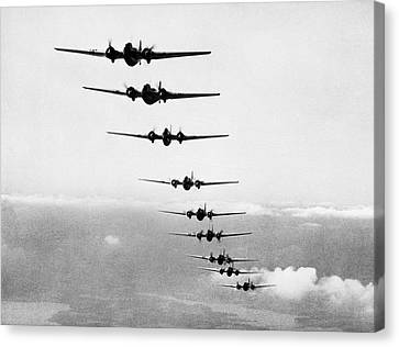 Martin B-10s In Formation Canvas Print by Underwood Archives