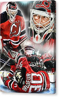 Martin Brodeur Collage Canvas Print by Mike Oulton