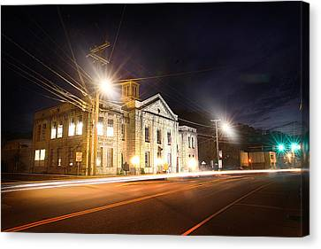 Martin County Courthouse At Night 2 Canvas Print by Lisa Sorrell