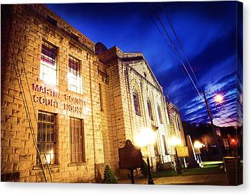Martin County Courthouse At Night Canvas Print by Lisa Sorrell
