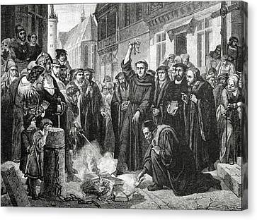 Martin Luther 1483 1546 Publicly Burning The Pope's Bull In 1521  Canvas Print by English School
