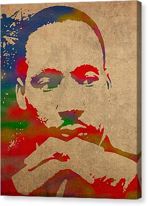 Portraits On Canvas Print - Martin Luther King Jr Watercolor Portrait On Worn Distressed Canvas by Design Turnpike