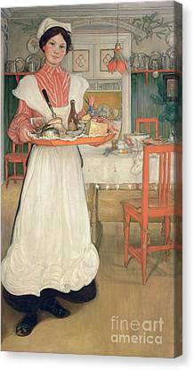 Martina Carrying Breakfast On A Tray Canvas Print by Carl Larsson