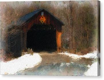Canvas Print featuring the photograph Martinsville Covered Bridge by Mike Martin