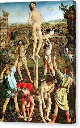 Martyrdom Of St. Sebastian, 1475 Oil On Poplar Canvas Print by Antonio Pollaiuolo