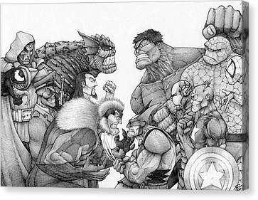 Marvel Group Canvas Print by Rui Guerreiro