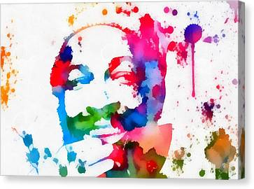 Marvin Gaye Paint Splatter Canvas Print by Dan Sproul