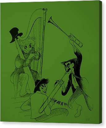 Marx Brothers Olive Green Canvas Print by Rob Hans