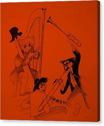 Marx Brothers Orange Canvas Print by Rob Hans
