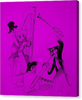 Marx Brothers Purple Canvas Print by Rob Hans