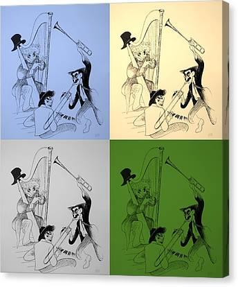 Marx Brothers Quad Colors I I Canvas Print by Rob Hans