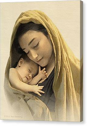 Jesus Canvas Print - Mary And Baby Jesus by Ray Downing