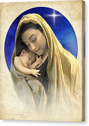 Mary And Jesus Blue 2 Canvas Print by Ray Downing
