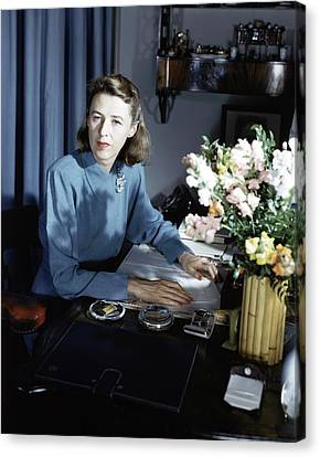 Mary Cushing At Her Desk Canvas Print by Horst P. Horst