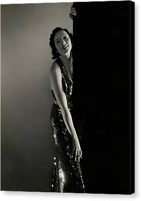 Mary Duncan Wearing A Sequin Dress Canvas Print by Edward Steichen