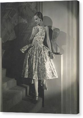 Mary Guina Wearing A Louiseboulanger Dress Canvas Print