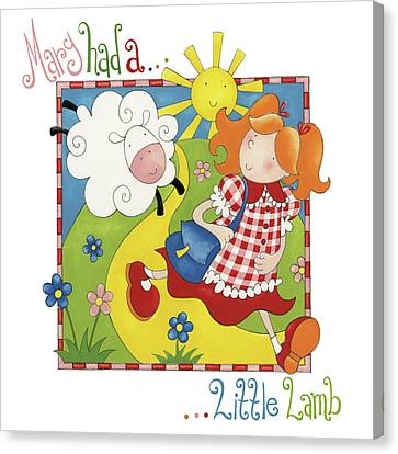 Mary Had A Little Lamb Canvas Print by P.s. Art Studios