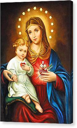 Mary Immaculate Heart Canvas Print by Munir Alawi