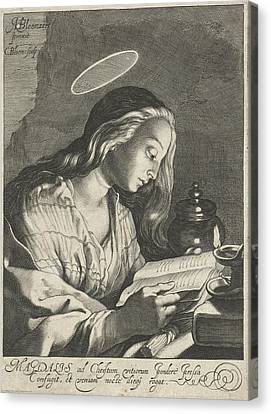 Mary Magdalene Reading, Cornelis Bloemaert II Canvas Print