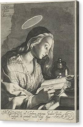 Mary Magdalene Reading, Cornelis Bloemaert II Canvas Print by Cornelis Bloemaert (ii)