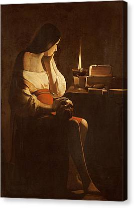 Mary Magdalene With A Night Light, C.1640-35 Oil On Canvas Canvas Print by Georges de la Tour