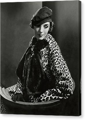 Mary Oakes Wearing Revillon Freres On A Chair Canvas Print by Edward Steichen