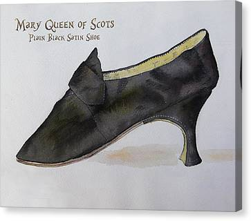 Mary Queen Of Scots Plain Black Satin Shoe Canvas Print by Mary Quarry