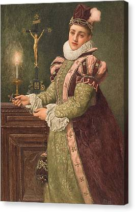 Candle Lit Canvas Print - Mary Queen Of Scots by Sir James Dromgole Linton