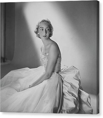 Tulle Canvas Print - Mary Sargent Ladd Wearing A Tulle Dress by Clifford Coffin